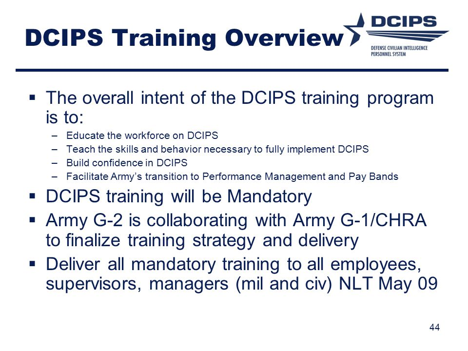 DCIPS Training Overview