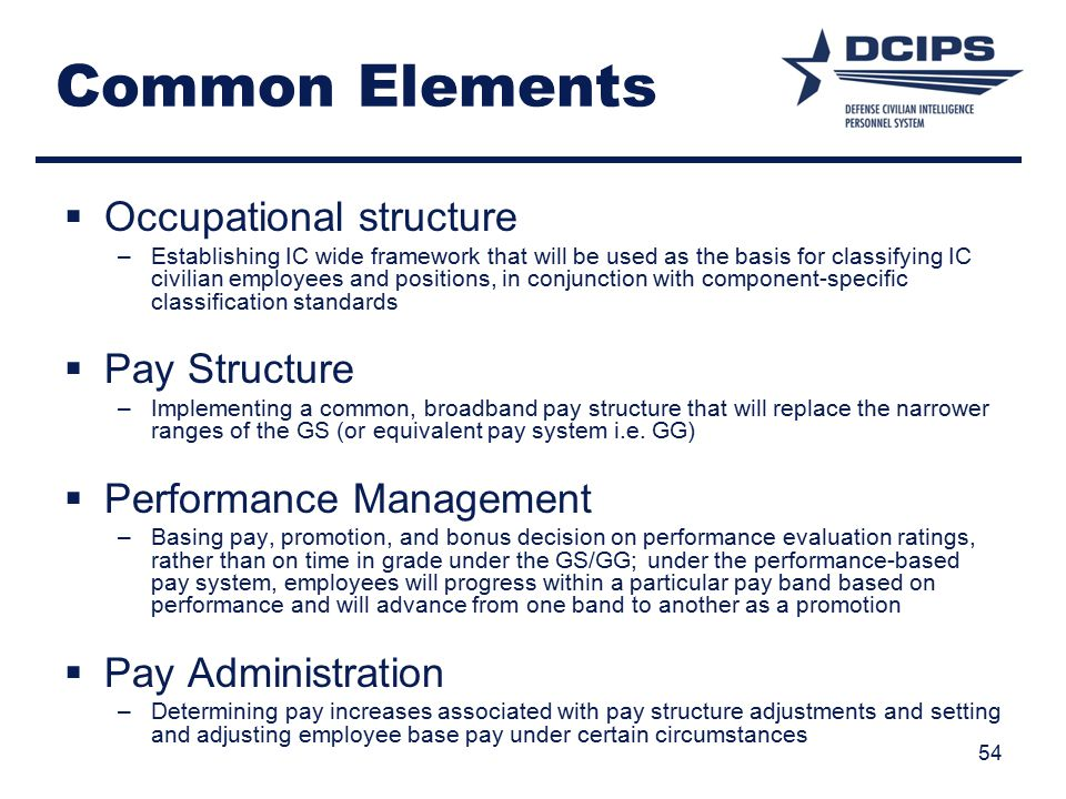 Common Elements Occupational structure Pay Structure