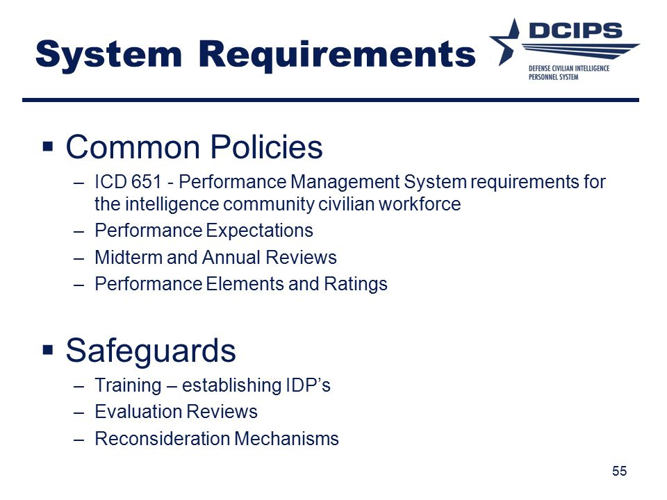 System Requirements Common Policies Safeguards