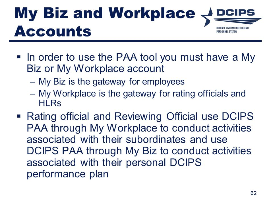 My Biz and Workplace Accounts