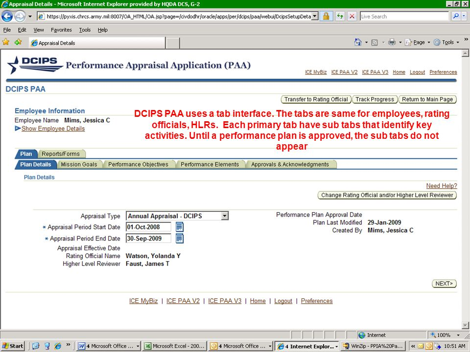 DCIPS PAA uses a tab interface