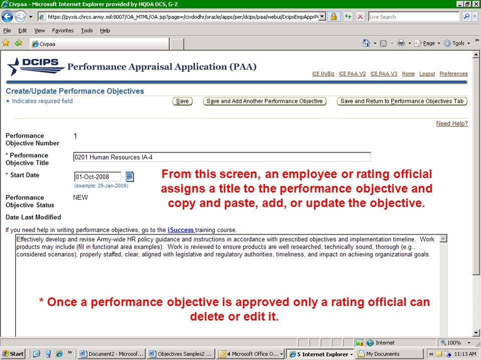 From this screen, an employee or rating official assigns a title to the performance objective and copy and paste, add, or update the objective.