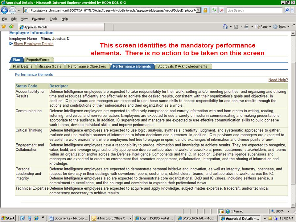 This screen identifies the mandatory performance elements
