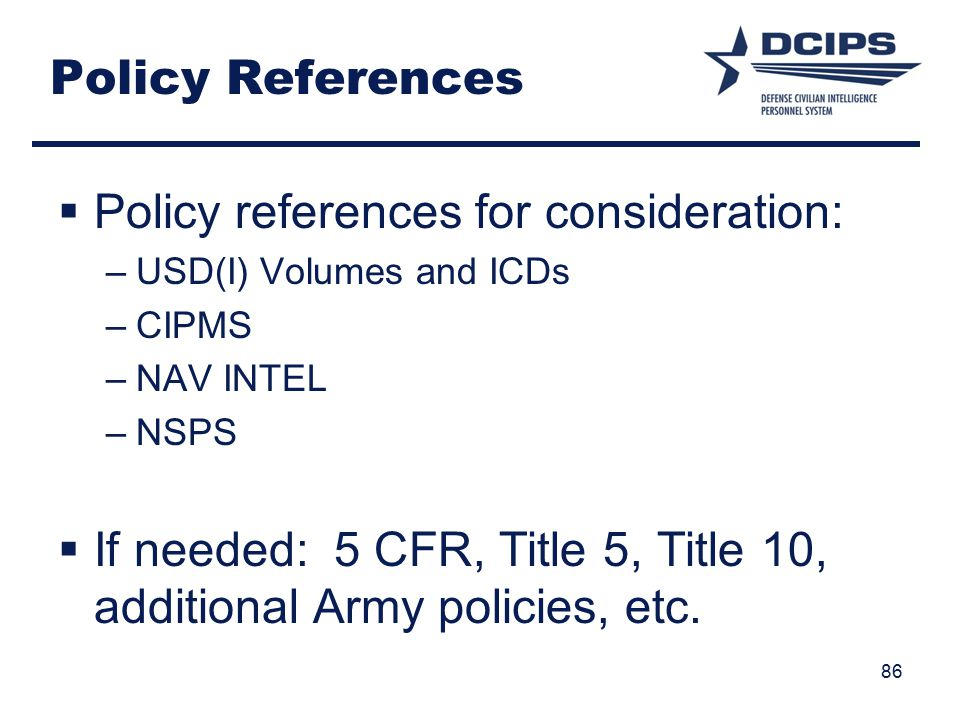 Policy references for consideration:
