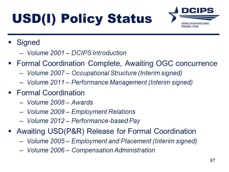 USD(I) Policy Status Signed