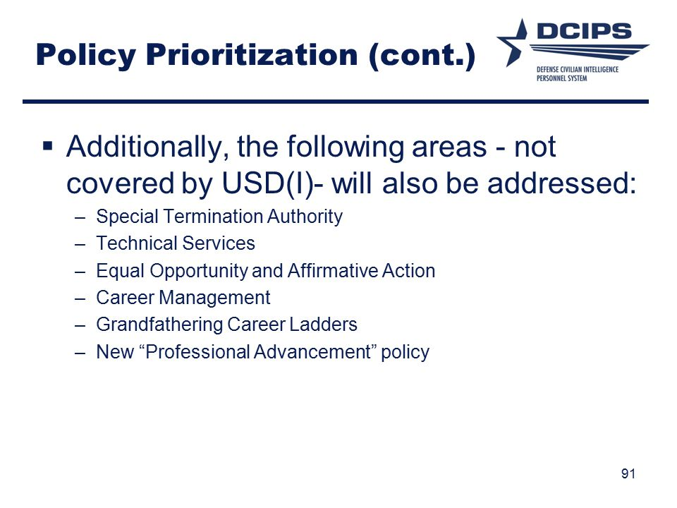 Policy Prioritization (cont.)
