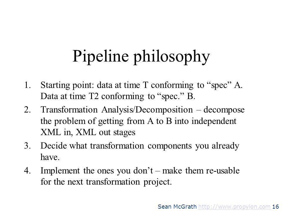 Pipeline philosophyStarting point: data at time T conforming to spec A. Data at time T2 conforming to spec. B.
