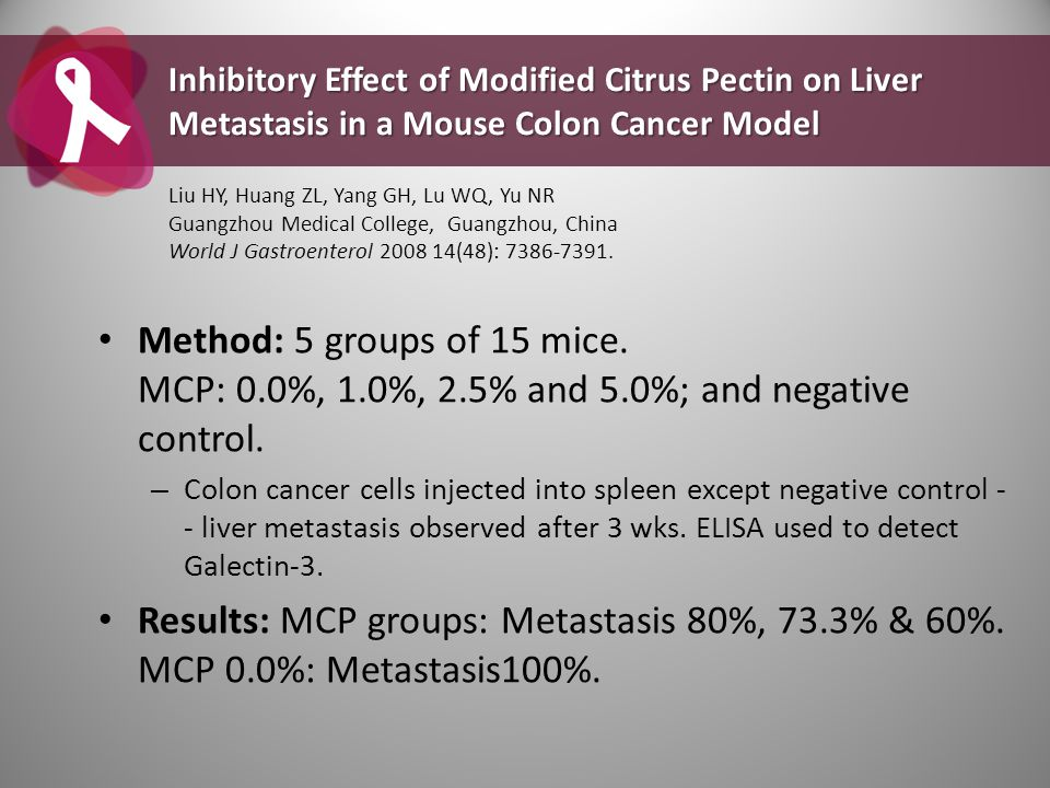 Inhibitory Effect of Modified Citrus Pectin on Liver Metastasis in a Mouse Colon Cancer Model