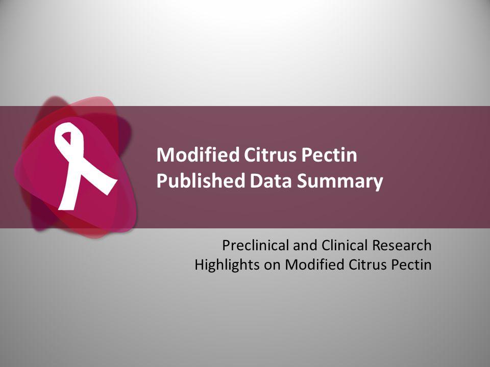 Modified Citrus Pectin Published Data Summary