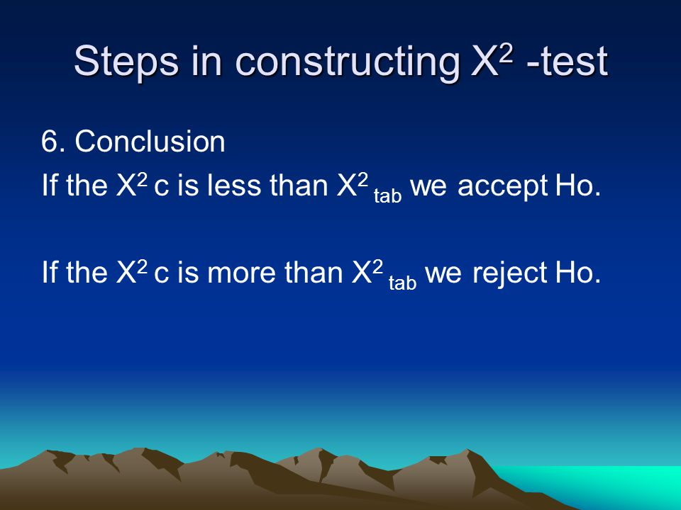Steps in constructing X2 -test