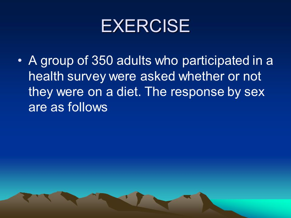 EXERCISE A group of 350 adults who participated in a health survey were asked whether or not they were on a diet.
