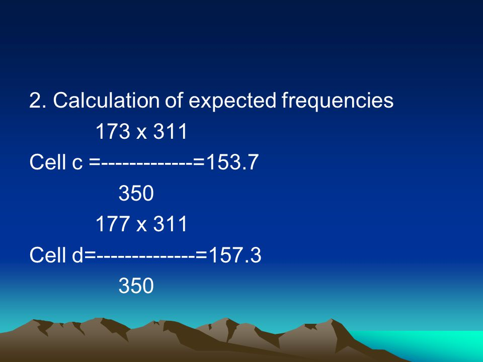 2. Calculation of expected frequencies