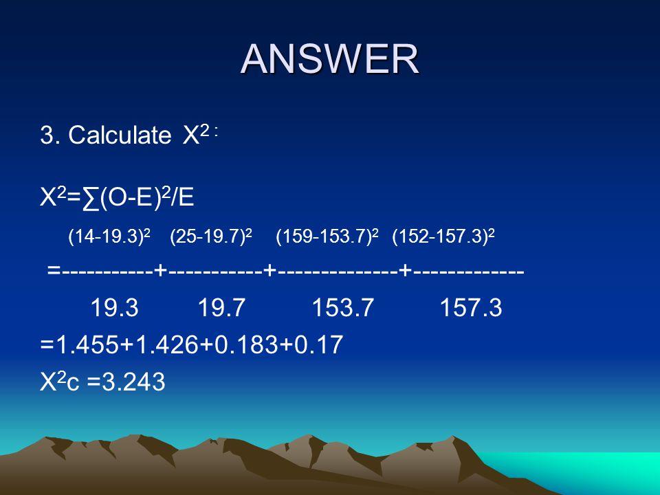 ANSWER 3. Calculate X2 : X2=∑(O-E)2/E