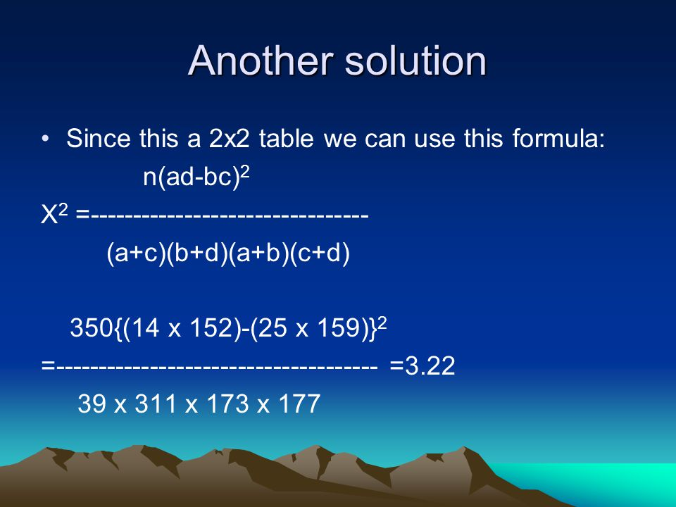 Another solution Since this a 2x2 table we can use this formula: