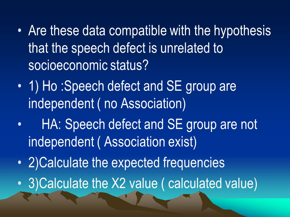 Are these data compatible with the hypothesis that the speech defect is unrelated to socioeconomic status