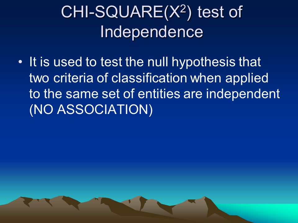 CHI-SQUARE(X2) test of Independence