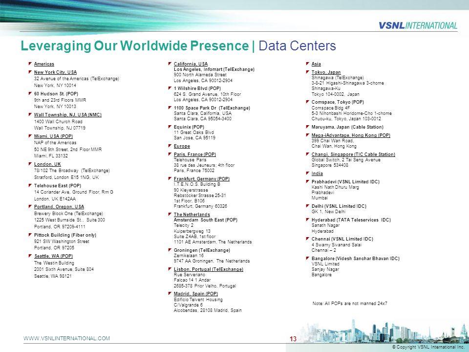 Leveraging Our Worldwide Presence | Data Centers