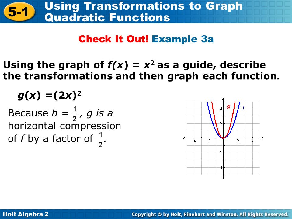 Check It Out! Example 3a Using the graph of f(x) = x2 as a guide, describe the transformations and then graph each function.