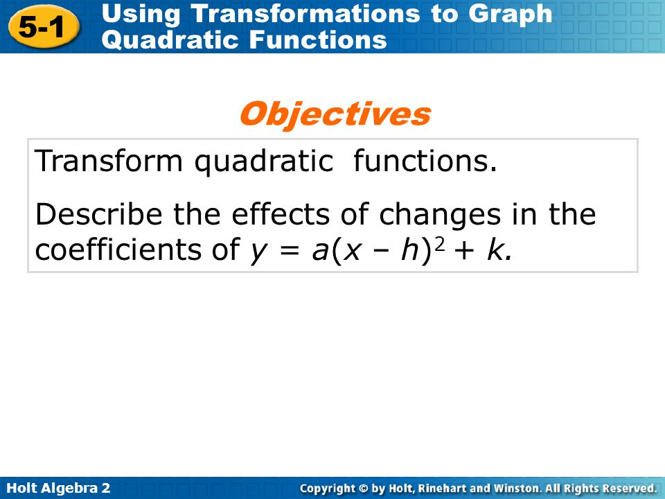 Objectives Transform quadratic functions.