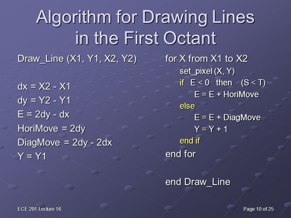 Algorithm for Drawing Lines in the First Octant