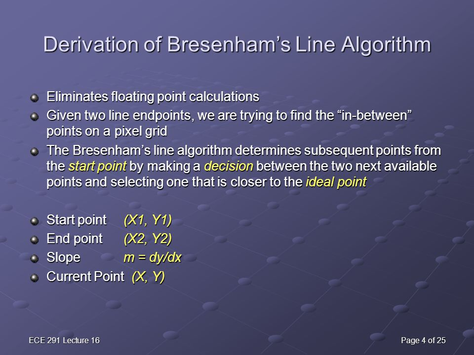 Bresenham Line Drawing Algorithm For Slope M 1 : Lecture fun with graphics ppt download