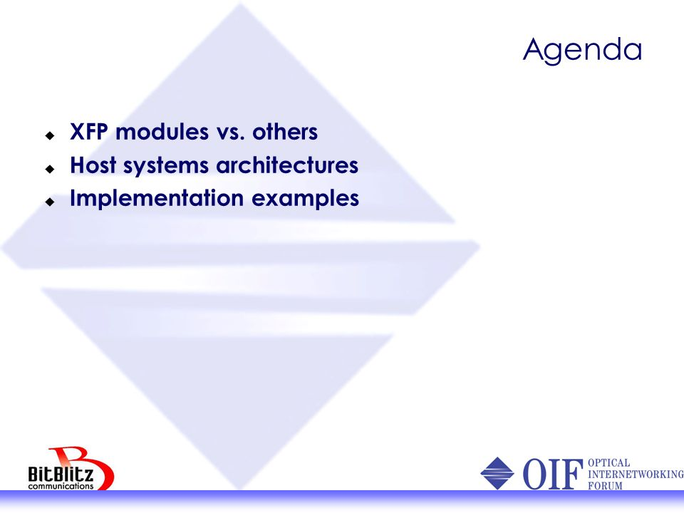 Agenda XFP modules vs. others Host systems architectures