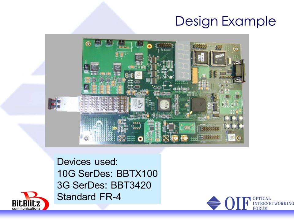 Design Example Devices used: 10G SerDes: BBTX100 3G SerDes: BBT3420