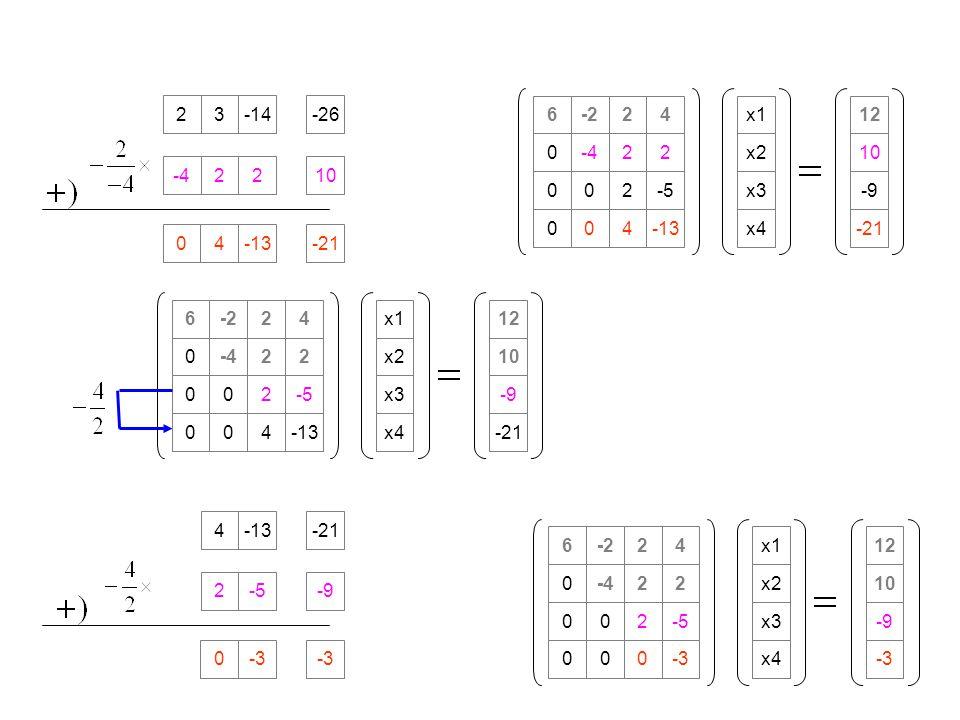 2 3. -14. -26. 6. -2. 2. 4. x1. 12. -4. 2. 2. x2. 10. -4. 2. 2. 10. 2. -5. x3. -9.