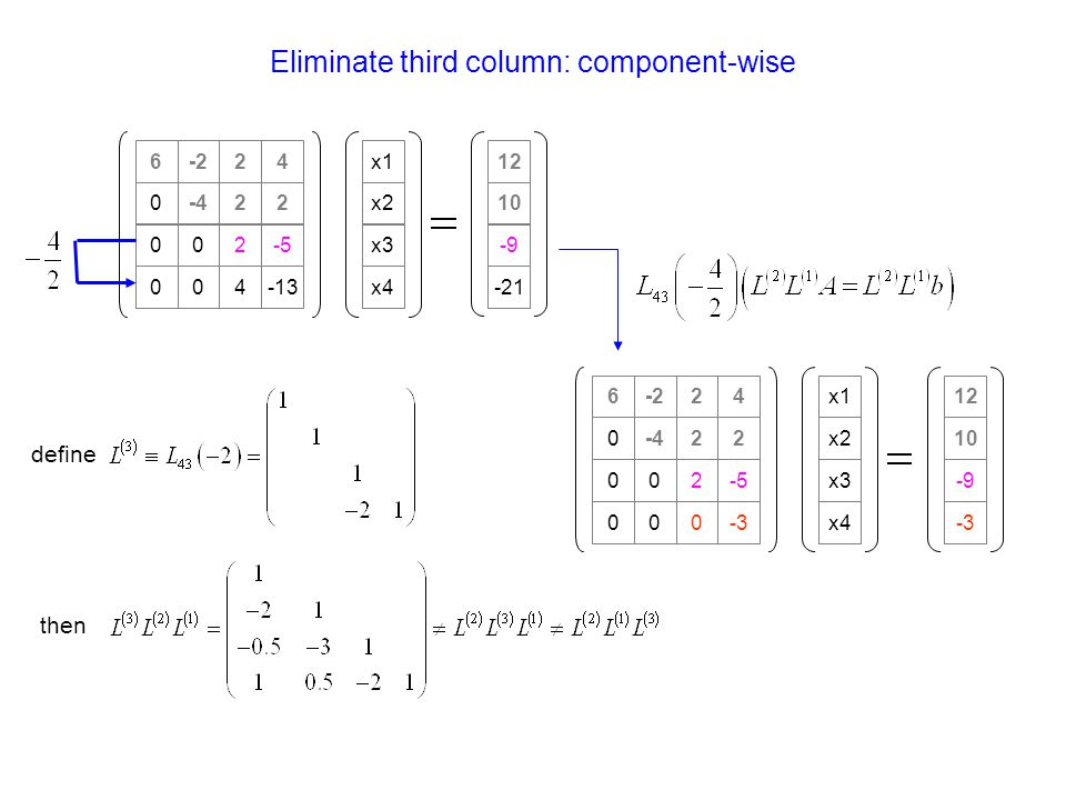 Eliminate third column: component-wise