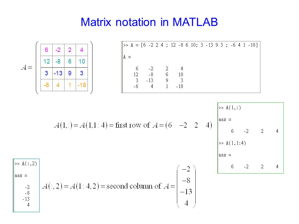 Matrix notation in MATLAB