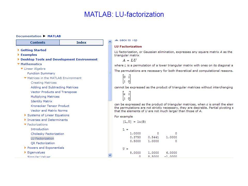 MATLAB: LU-factorization