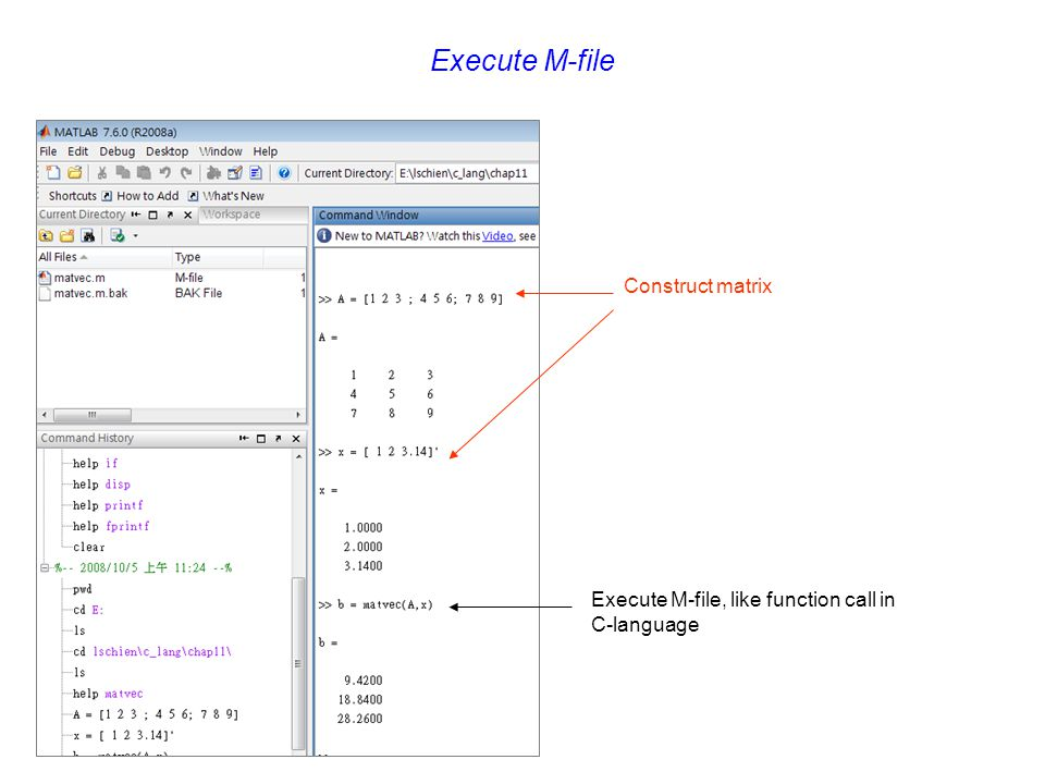 Execute M-file Construct matrix