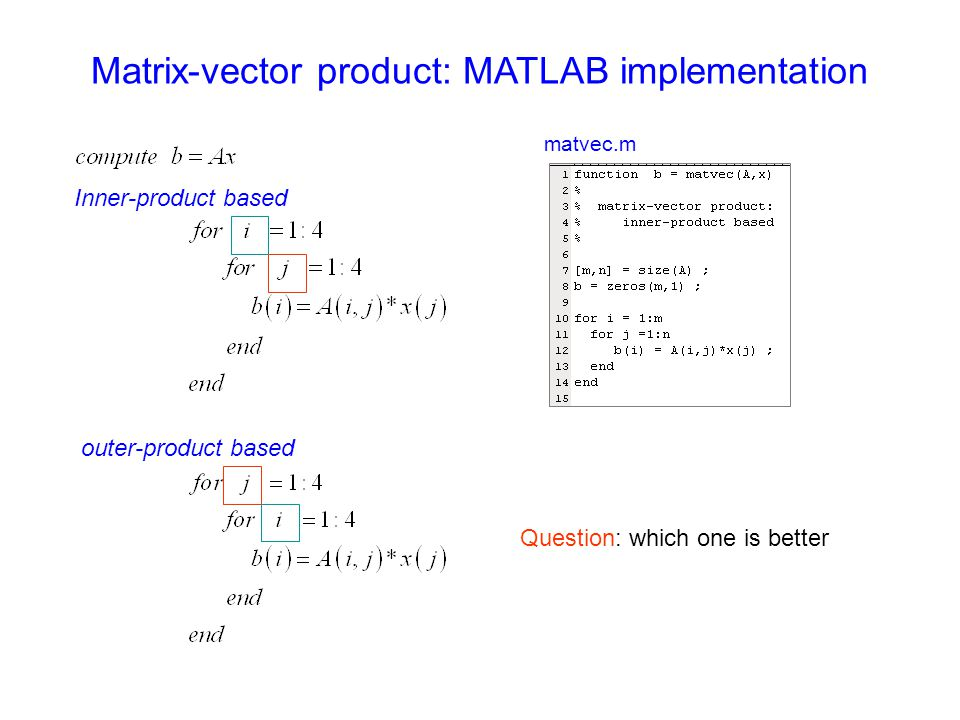 Matrix-vector product: MATLAB implementation