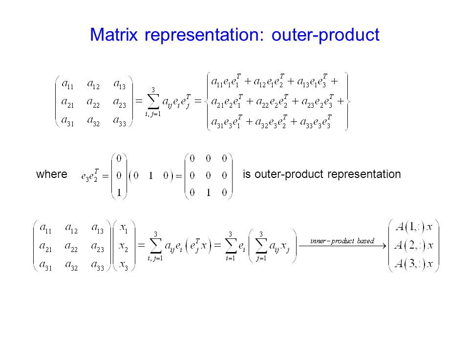 Matrix representation: outer-product