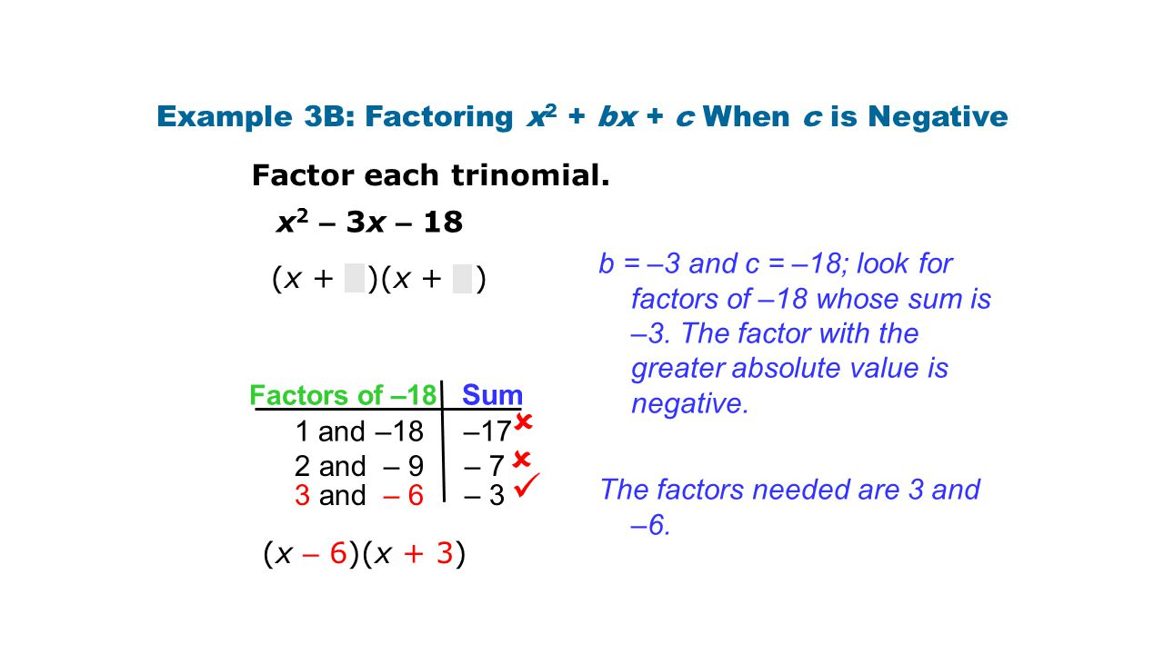 Example 3B: Factoring x2 + bx + c When c is Negative