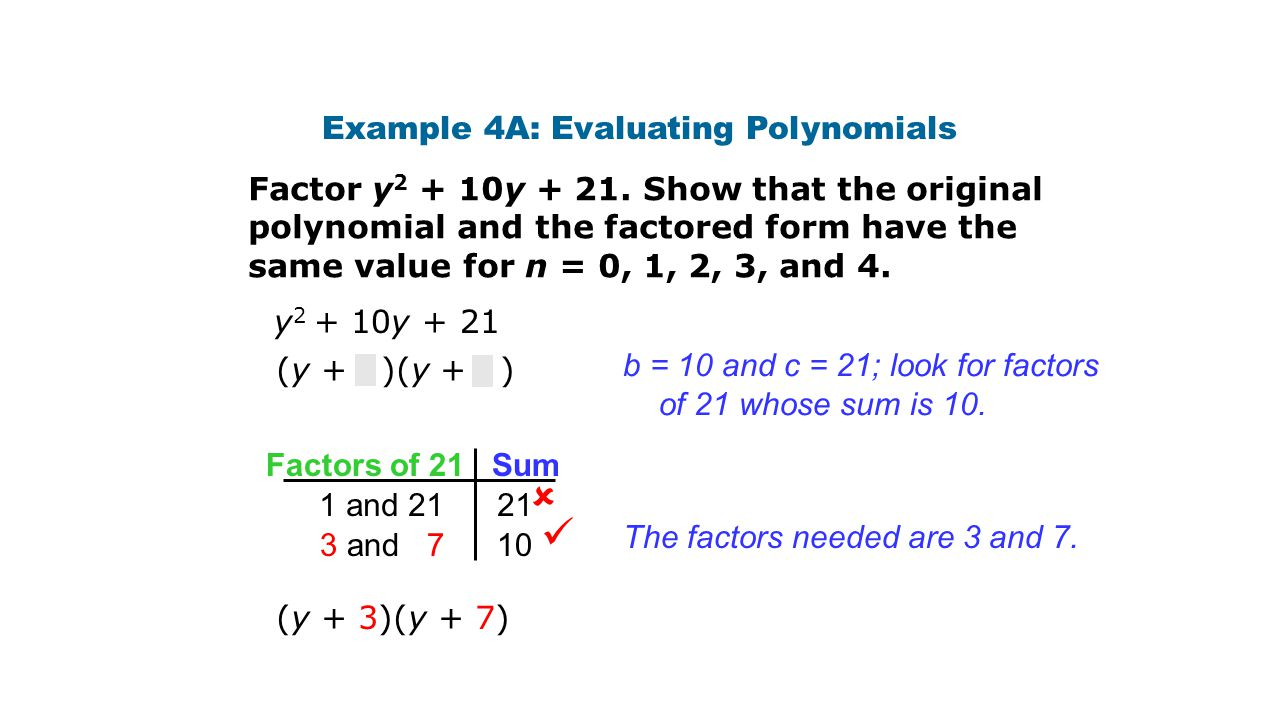 Example 4A: Evaluating Polynomials