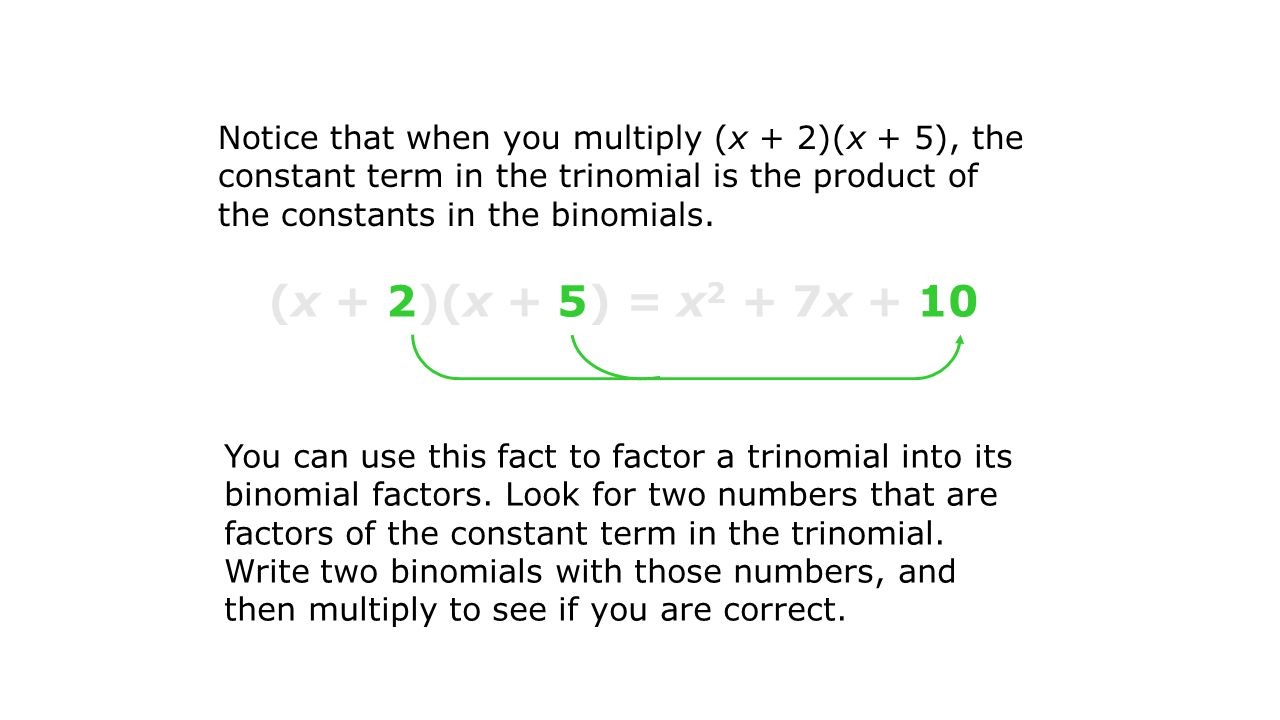 Notice that when you multiply (x + 2)(x + 5), the constant term in the trinomial is the product of the constants in the binomials.