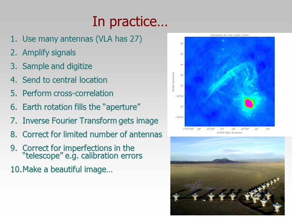 In practice… Use many antennas (VLA has 27) Amplify signals
