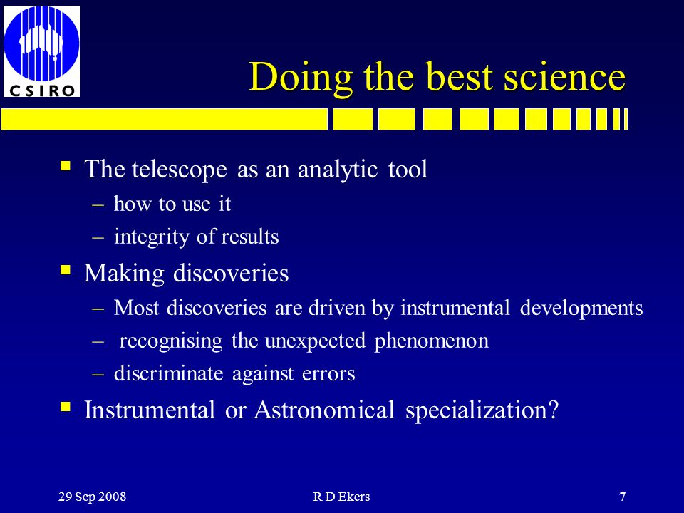 Doing the best science The telescope as an analytic tool