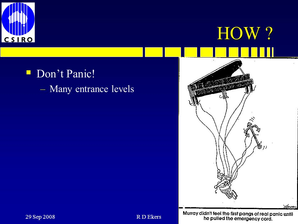 HOW Don't Panic! Many entrance levels 29 Sep 2008 R D Ekers