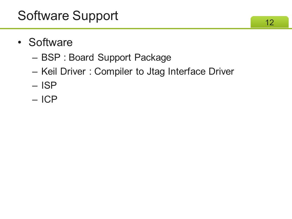 Software Support Software BSP : Board Support Package