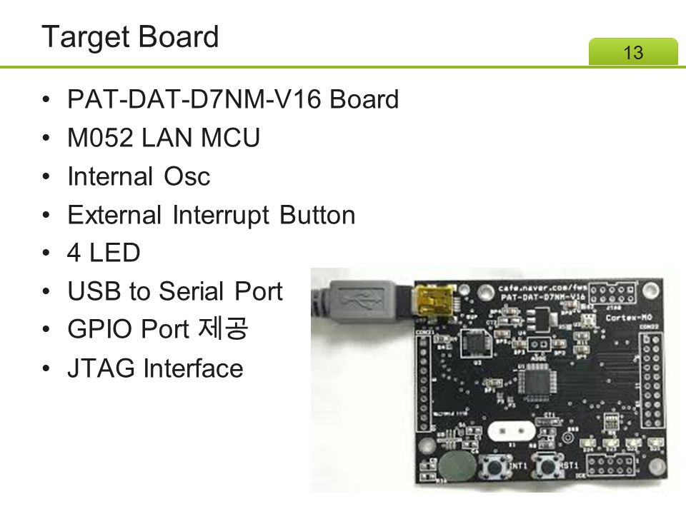 Target Board PAT-DAT-D7NM-V16 Board M052 LAN MCU Internal Osc