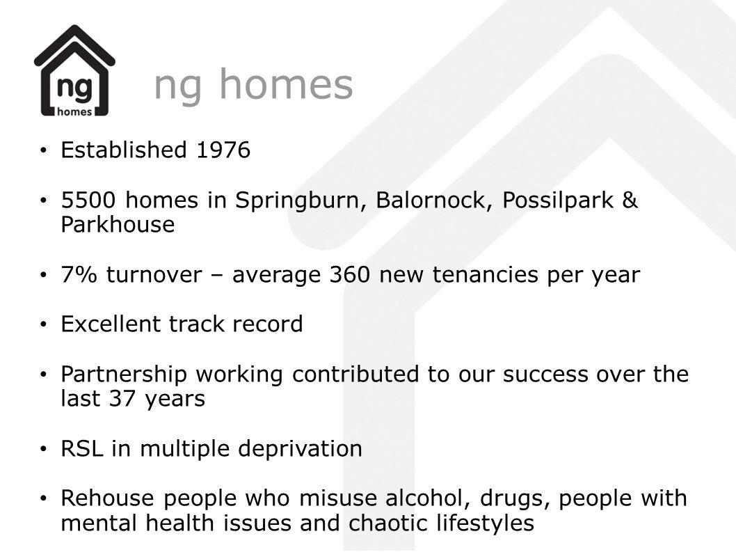 ng homes Established 1976. 5500 homes in Springburn, Balornock, Possilpark & Parkhouse. 7% turnover – average 360 new tenancies per year.