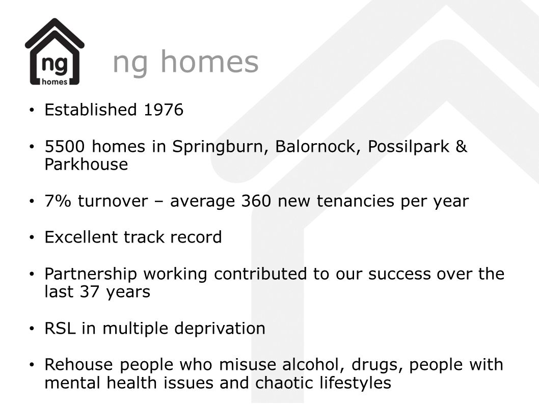 ng homes Established homes in Springburn, Balornock, Possilpark & Parkhouse. 7% turnover – average 360 new tenancies per year.