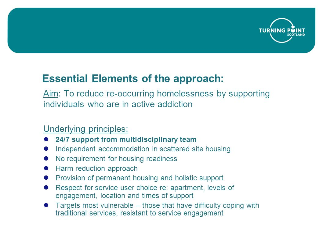 Essential Elements of the approach: