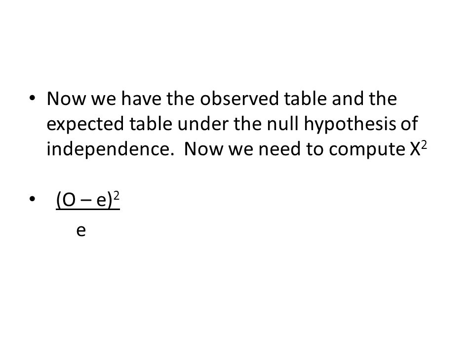 Now we have the observed table and the expected table under the null hypothesis of independence. Now we need to compute X2