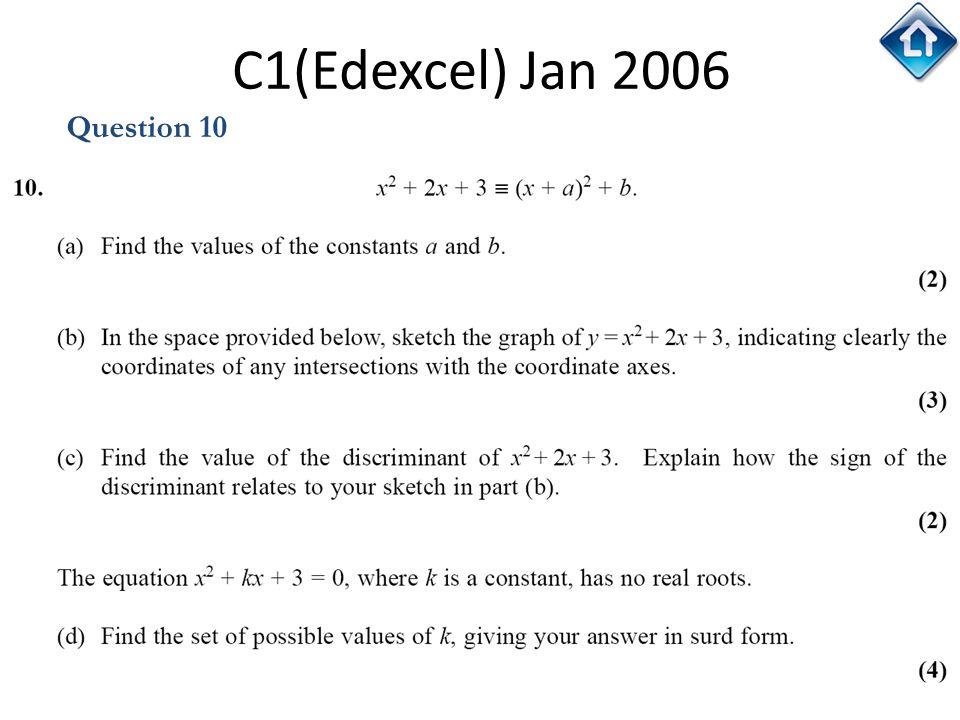 C1(Edexcel) Jan 2006 Question 10