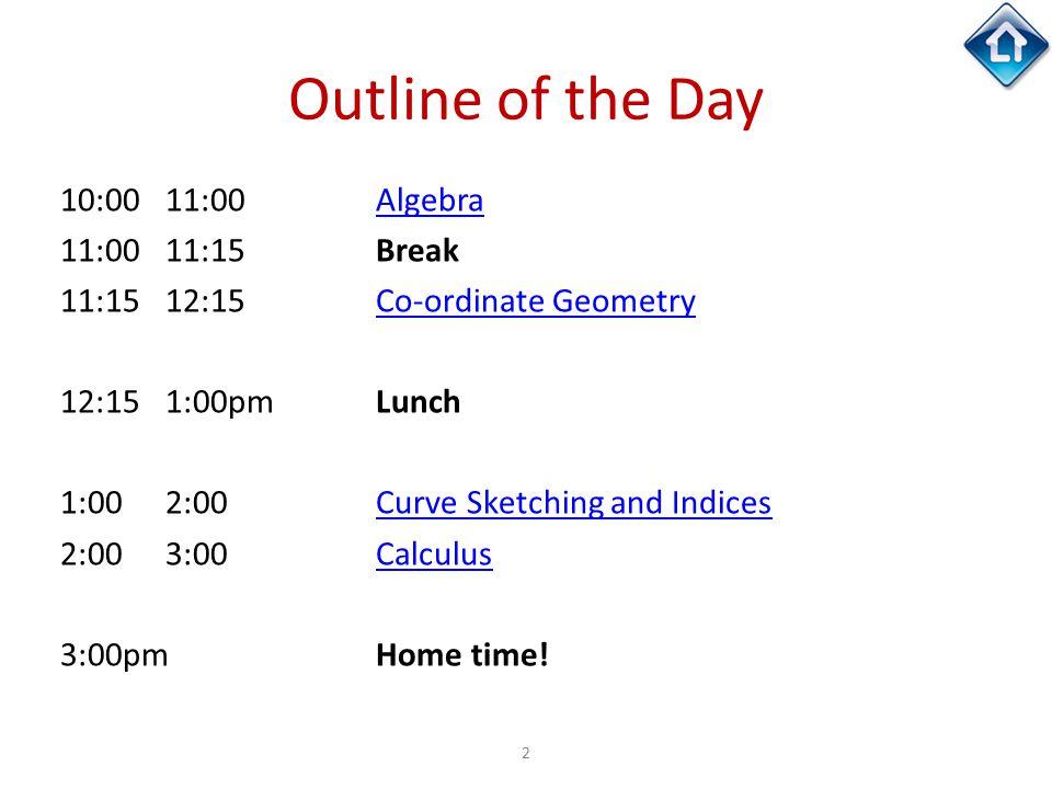 Outline of the Day 10:00 11:00 Algebra 11:00 11:15 Break