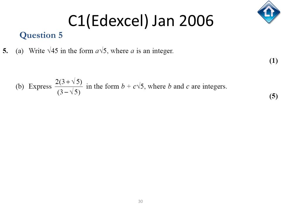 C1(Edexcel) Jan 2006 Question 5 C1(Edexcel) Jan 2006
