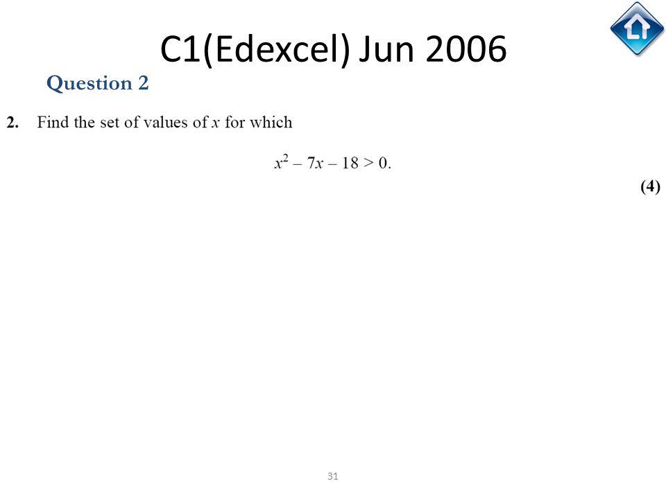 C1(Edexcel) Jun 2006 Question 2 C1(Edexcel) Jun 2006